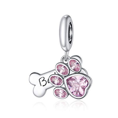 Abalorio de huella de perro para pulsera de plata de ley 925, diseño de hueso, color rosa