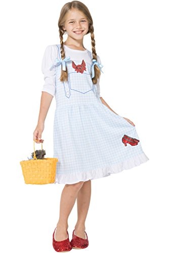 The Wizard of Oz Little Girls' Dorothy Costume Pajama Gown with Fleece Lined Ruby Slippers, Blue, 6/6X
