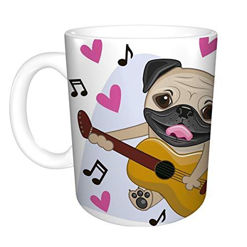 11 oz White Ceramic Coffee Mug pug dog guitar background music hearts Hipster