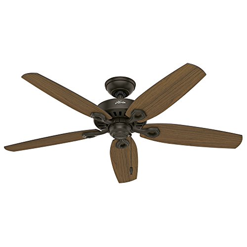 Hunter Indoor / Outdoor Ceiling Fan, with pull chain control - Builder Elite 52 inch, New Bronze, 53292