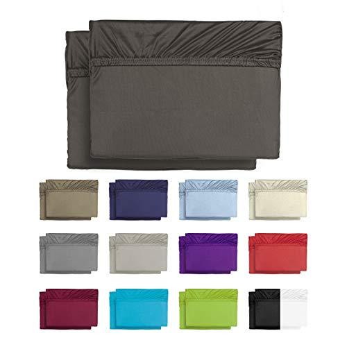 BaSaTex 2er Pack Microfaser Spannbettlaken, Spannbetttuch Doppelpack in vielen Größen und Farben 90x200 bis 100x200 cm Grau