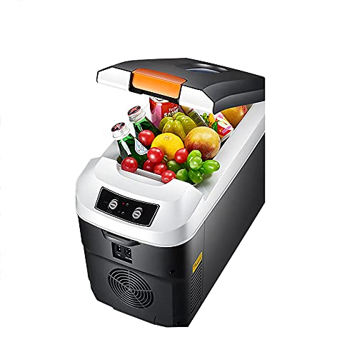 QPMY Refrigerador para Automóvil, Refrigerador Pequeño De 3.9 Pies Cúbicos, Doble Energía De Frío Y Calefacción, Pantalla Táctil De Un Toque, Refrigerador Móvil Horizontal,Mechanical