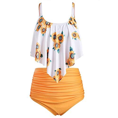 TUDUZ ♕ Sonnenblumen Druck Bikini Set ♕ Bikini Tankini 50er Damen Retro Vintage Bikini Sets High Waist Bademode Rüschen Badeanzug Falten Schwimmanzug Swimsuit(X-Large,F-Gelb)