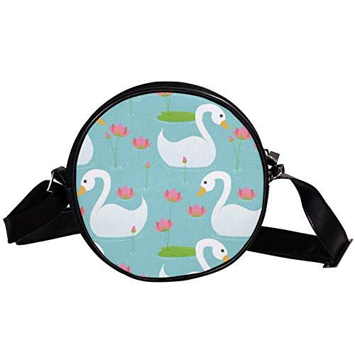 Cisne blanco jugando flor de loto piscina diagonal bolsa redonda Crossbody cartera, bolso de hombro de moda círculo Crossbody bolso mini lona inclinado