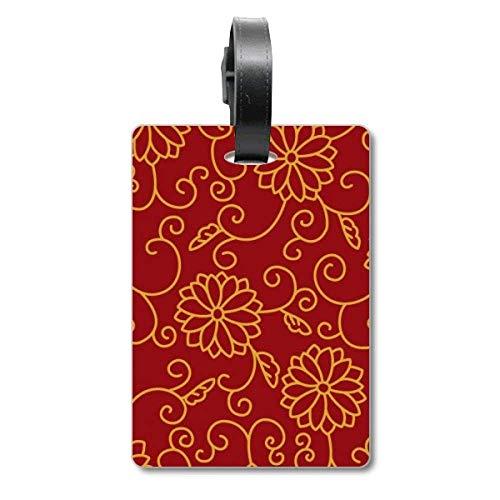 Etikett für Koffer, chinesischer Stil, asiatische Blumen, Hut-Muster, Reisegepäck