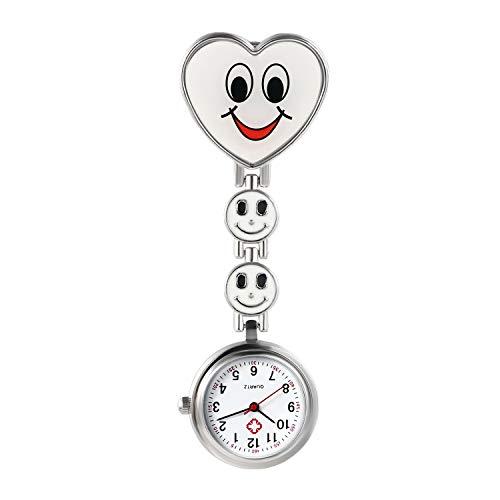 Avaner Schwesteruhr Analog Quarzwerk Pflegeruhr Ansteckuhr mit Clip Hanging Medical Taschenuhr FOB-Uhr Smiley-Herzform für Damen Krankenschwester Arzt Doktor AN019-11