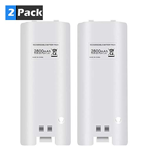 Rechargeable Battery Pack for Wii, Delymc PS24 2pcs 2800mAh High Capacity Rechargeable Batteries Pack for Nintendo Wii Remote Controller-White