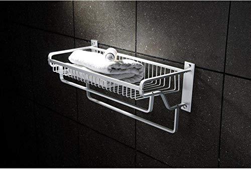 Wtbew-u Estantes de toallas para el baño, Toallero de barra de toalla Espacio de aluminio Estante de aluminio con barra de toalla Estante de baño doble