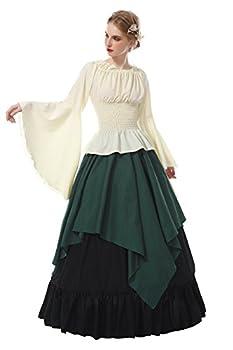 ROLECOS Renaissance Costume Women Medieval Peasant Dress Trumpet Sleeve Victorian Ren Faire Shirt and Skirt Green XXL