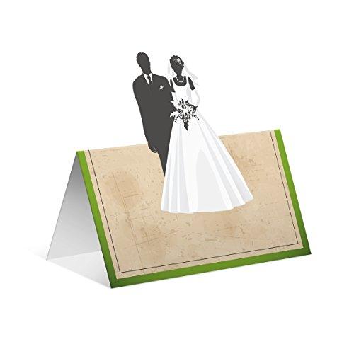 Pop-up blanco plaatskaarten naamkaartjes tafelkaarten verjaardag huwelijk - vintage bruidspaar 30 Stück groen
