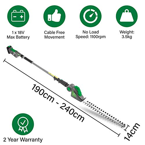 Gracious Gardens 18V Cordless Electric Hedge Trimmer Long Reach Lithium-Ion 2.4m Telescopic Extendable Pole 45cm Cutting Length, 5 Positions for Tall Hedges, Battery Powered (1 x Battery)
