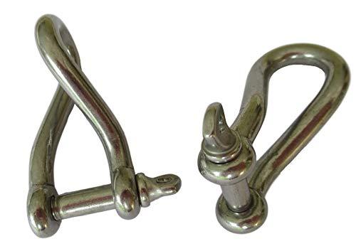 2x schakels V4A gedraaide vorm/gebogen met schroefdraadbouten 5mm - roestvrij staal 45x28,5x20mm / 33x10,5 mm opening - gedraaid - industrie