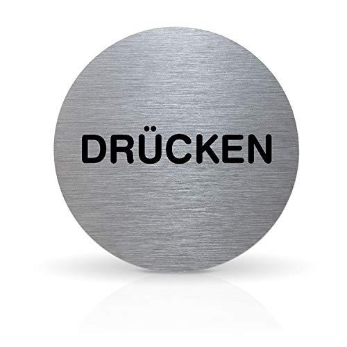 """Betriebsausstattung24® Türschild Piktogramm """"DÜRCKEN""""   Rundes Hinweisschild aus Aluminium   Für Ihre Tür & Wand   Silber   Durchmesser Ø 7,0 cm   Inkl. Klebepad"""
