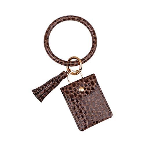 Zoomne Armband Armband Schlüsselring, Pu Leder Quaste Schlüsselbund Armreif für Frauen Mädchen,Braun