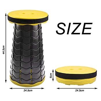 FOCCTS Tabouret Pliant Portable Réglable en Hauteur Maxi Charge 150KG, Tabouret Retractable Portable en Plastiaue pour Pêche/BBQ/Intérieur/Activités Plein air