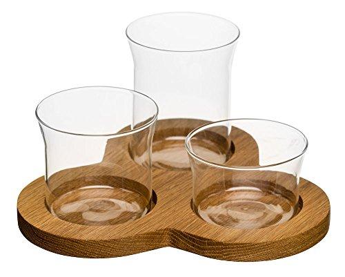 Sagaform Servier Set, Glas/Eichenholz, braun/transparent, 21x21x11 cm, 4-Einheiten