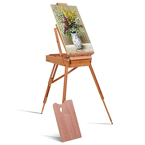 Tangkula Wooden Folding French Easel, Portable Art Easel with Sketch Box, Artist Drawer, Palette & Shoulder Strap, Adjustable Easel Stand Holds Canvas up to 34' for Painting, Drawing