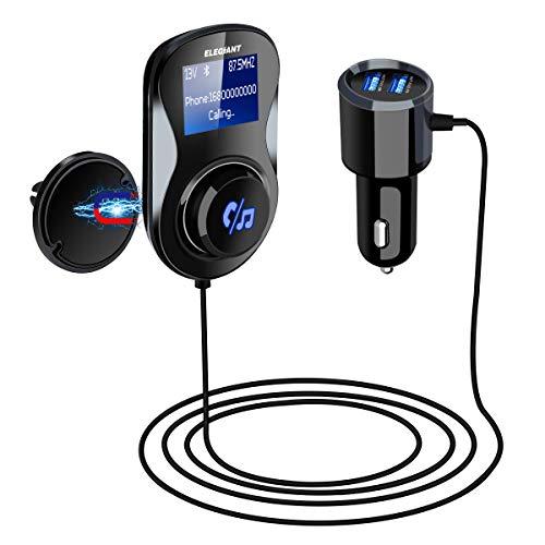 Transmisor FM Coche bluetooth ELEGIANT Adaptador Manos Libres USB 2.4A Cargador coche...