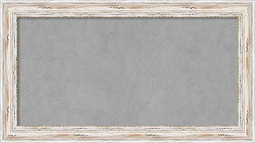 Framed Magnetic Board Bulletin Board | Magnet Board Alexandria White Wash Narrow Frame | Framed Magnetic Boards | 27.12 x 15.12 in.