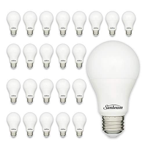 Sunbeam 16892 9W LED Soft White 3000K 60 W Equivalent, 25000 Hours, 800 Lumens, Medium Base, A19 Light Bulb 24-Pack