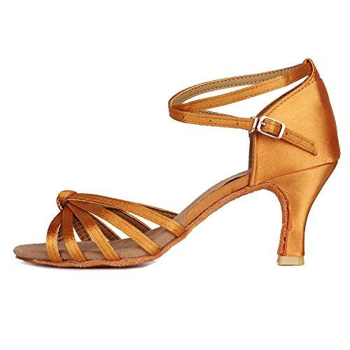 YKXLM Mujeres&Niña Zapatos Latinos de Baile Zapatillas de Baile de Salón Salsa Performance Calzado de Danza,ES217-7,Marrón Color,EU 36
