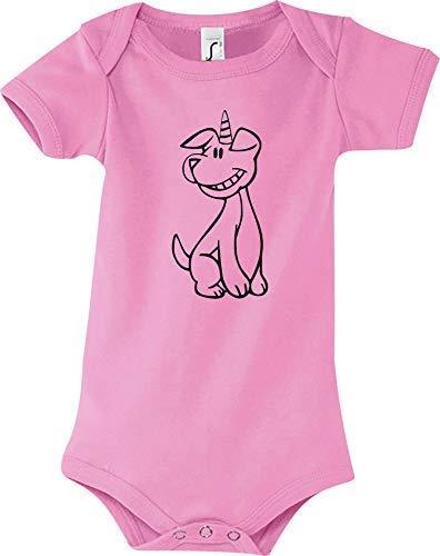 Shirtstown Body Bébé Drôle Animal Einhornhund, Licorne, Chien - Rose, 18-24 Monate