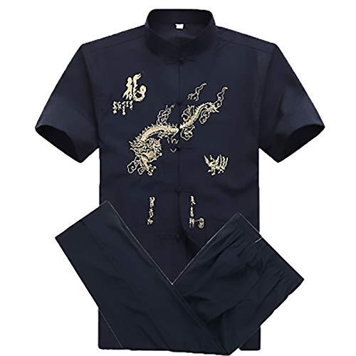 ZFF Hanfu Tang Traje Traje Tang - Estilo Chino algodón Puro Kung fu Juego Bordado dragón Artes Marciales Uniforme Tai chi Traje Chino Traje de Manga Corta Fácil de Usar y Duradero