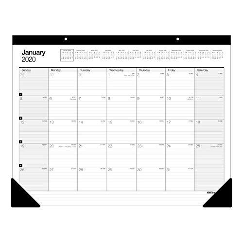 "Office Depot Brand Monthly Desk Pad Calendar, 22"" x 17"", White, January to December 2020, SP24D00"