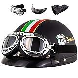 MTTKTTBD Casco semicasco para motocicleta, casco semiintegral, casco de moto, scooter, scooter, estilo retro, Harley