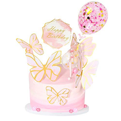 MMTX Cake Topper Decorazione Torta Compleanno Bambina Farfalla Kit Feste Compleanno con Happy Birthday Banner Topper, Coriandoli Palloncino Topper per Ragazzi Ragazze Bambini Compleanno