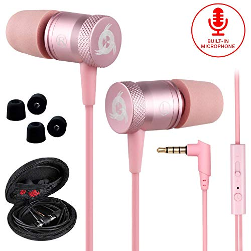 KLIM Fusion Kopfhörer in Ears mit Mikrofon - Langlebig - Innovativ: In-Ear Kopfhörer mit Memory Foam - Neue 2020 Version - 3.5 mm Jack - Sport Gaming In Ear Kopfhörer - Rosa Gold