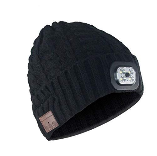 SHYPT Winter Beanie Wireless Bluetooth Beanie Music Strickmütze für Outdoor-Sportlauf (Color : Black)
