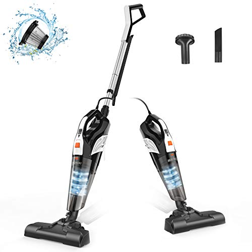 Stick Vacuum Cleaner Corded, Meiyou Stand Lightweight 18000Pa Powerful Suction 2-in-1 Stick Handheld Vacuum Cleaner Dry/Wet Household for Hard Floor and Carpet Cleanig