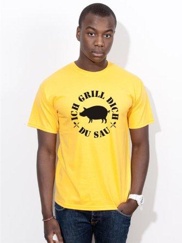 BIGTIME.de Grill T-Shirt Ich Grill dich du Sau Kult Sommer Herren Shirt G4-gelb - Gr. XXL