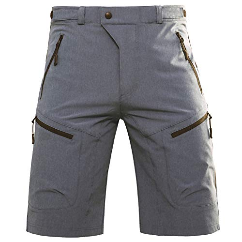 Hiauspor Mens MTB Shorts Mountain Bike Shorts Water Repellent Baggy Half Pants with Pockets for Cycling Riding Grey