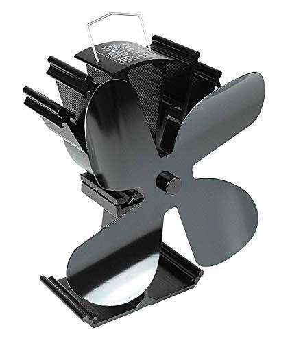 Mitsuru Ofenventilator ohne Strom für Holzofen Kamin, 4 Blätter, schwarz