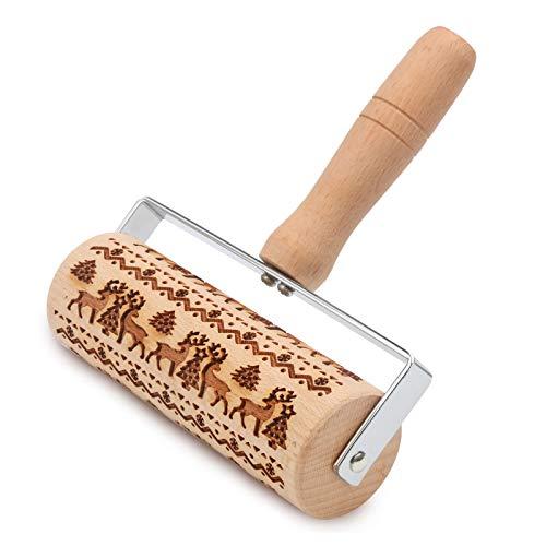 KIPIDA Weihnachten Präge Nudelholz, Holz Teigroller,Backrolle aus Buchenholz zum Teigrollen,Elch Mustern Präge Nudelholz als Backzubehör,Teigrolle zum Backen geprägte Kekse mit Kugellager,Langlebig