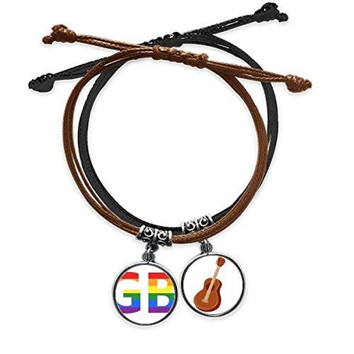 DIYthinker LGBT transexuales bisexuales de Apoyo Pulsera Cuerda Mano Cadena Cuero Guitarra Pulsera