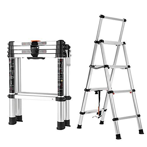Draagbare telescopische multifunctionele ladder antislip aluminium licht uittrekbare dakvloerladder max. 150 kg belasting voor outdoor indoor home loft kantoor 4 stappen.