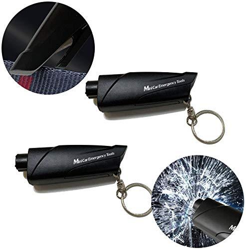 Mars Space 2 pcs Window Breaker Seatbelt Cutter Portable Glass Breaker Keychain for Land amp Underwater Emergency Safety Car Escape Tool 2pcs 2pcsBlack