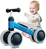 Baby Balance Bikes 10-24 Month Children Walker | Toys for 1 Year Old Boys Girls | No Pedal Infant 4 Wheels Toddler Bicycle | Best First Birthday New Year Holiday Blue