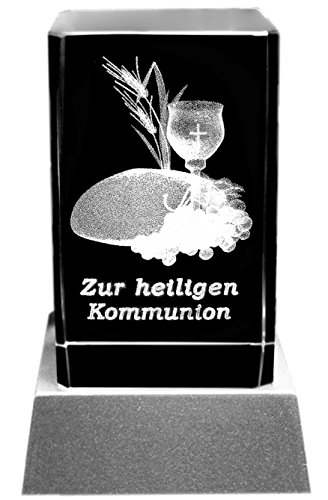 Kaltner Präsente Stimmungslicht – EIN ganz besonderes Geschenk: LED Kerze/Kristall Glasblock / 3D-Laser-Gravur Motiv Glaube Schriftzug ZUR HEILIGEN Kommunion