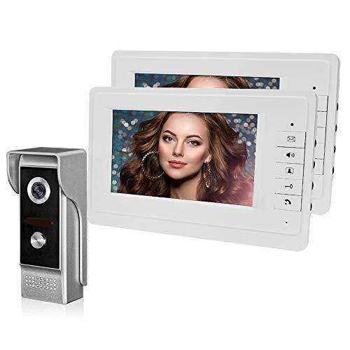 HFeng Videoportero, Sistema de timbre de video para el hogar, Monitores de unidad TFT de 7 '' + Sistema de puerta de cámara de metal 700TVL (1 Cámara + 2 Monitores)