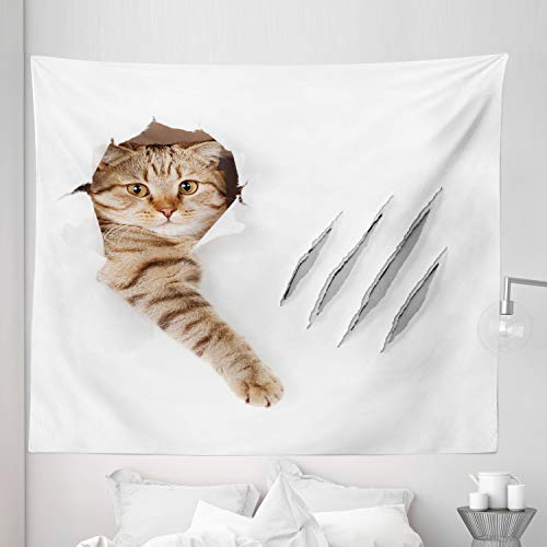 """Lunarable Animal Tapestry King Size, Funny Cat in Hole with Claw Scratches Playful Kitten Pet Picture, Wall Hanging Bedspread Bed Cover Wall Decor, 104"""" X 88"""", White Brown"""