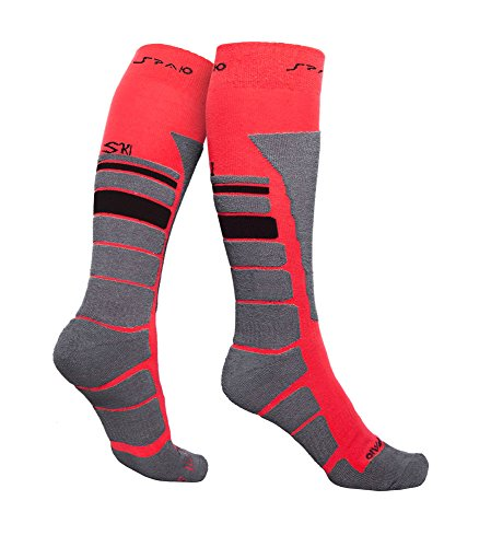 SPAIO Chaussettes Unisexe Thermo Thermolite Ski, Rouge/Gris, 44-46