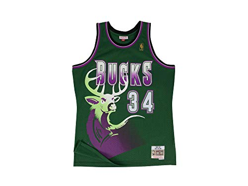 Mitchell & Ness, maglietta da basket di Ray Allen, il numero 34 dei Milwaukee Bucks, stagione 1996-97, Swingman NBA, di colore verde, Uomo, MN-NBA-353J-315-FGYRAL-MILBUC-M, M