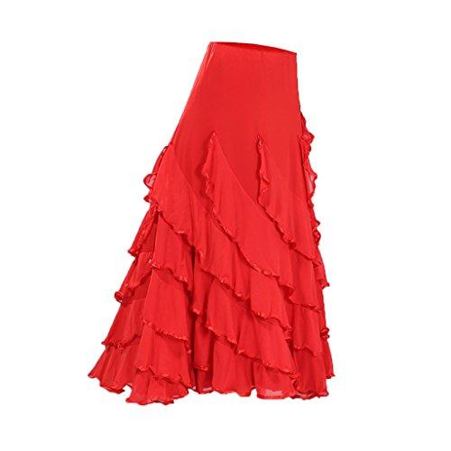 Baoblaze Vestido de Flamenca Ropa de Baile Accesorios de Mujer Falda de Tango - Rojo, 920cm