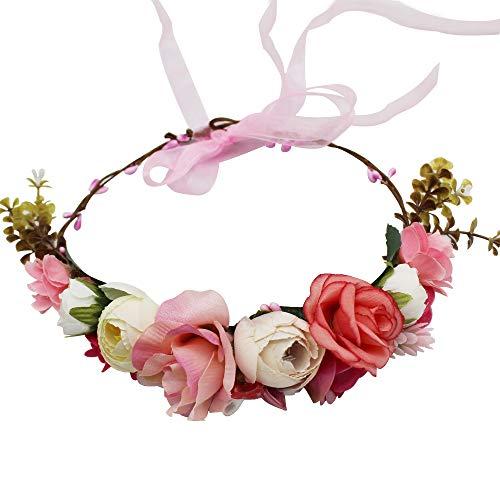 YGSAT Damen Blumenstirnband Blumenkrone Blumenkranz für Muttertag Hochzeit Party Strand-Rot und Weiß
