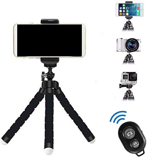 GTA Mini Trípode Flexible con Bluetooth y Adaptador para Todo Tipo De Teléfonos Móvil Y Cámaras Ideal para Viajes y Entretenimiento