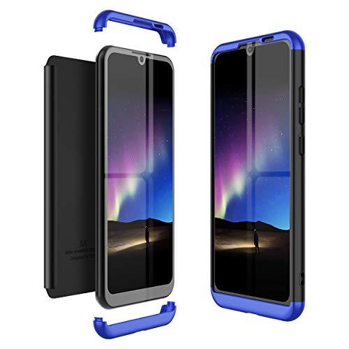 Winhoo Kompatibel mit Huawei Honor Play 8A Hülle Hardcase 3 in 1 Handyhülle 360 Grad Schutz Ultra Dünn Slim Hard Full Body Hülle Cover Backcover Schutzhülle Bumper - Blau + Schwarz